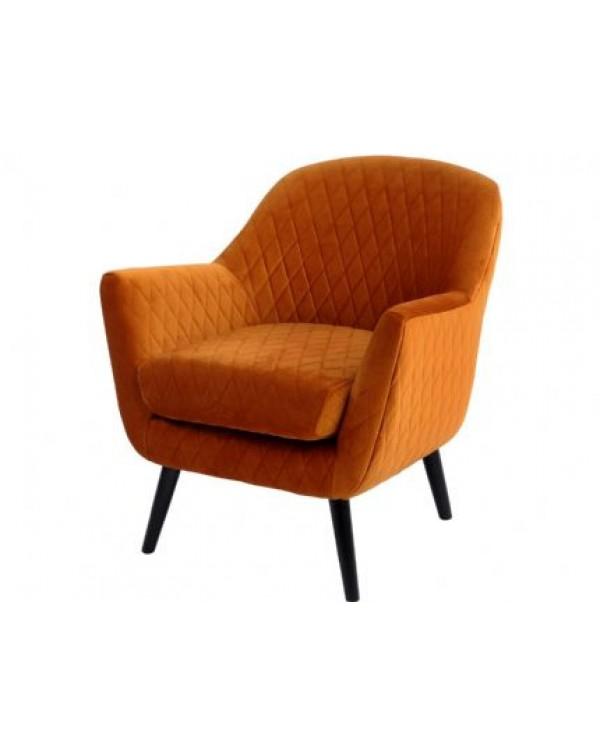 Libra Ellison Orange Velvet Quilted Occasional Ch...